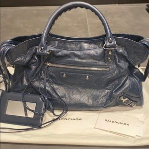 Authentic Balenciaga classic city leather navy